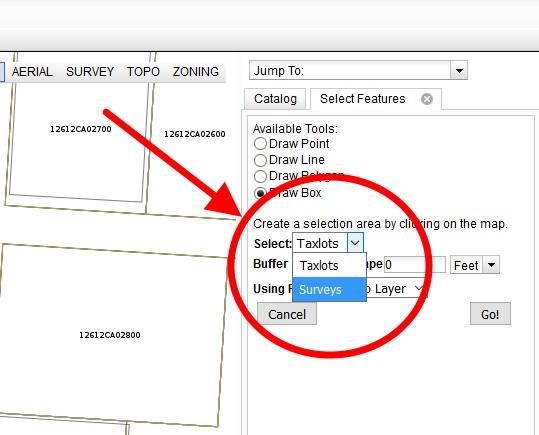 "Choose ""Surveys"" and click the ""Go!"" button."
